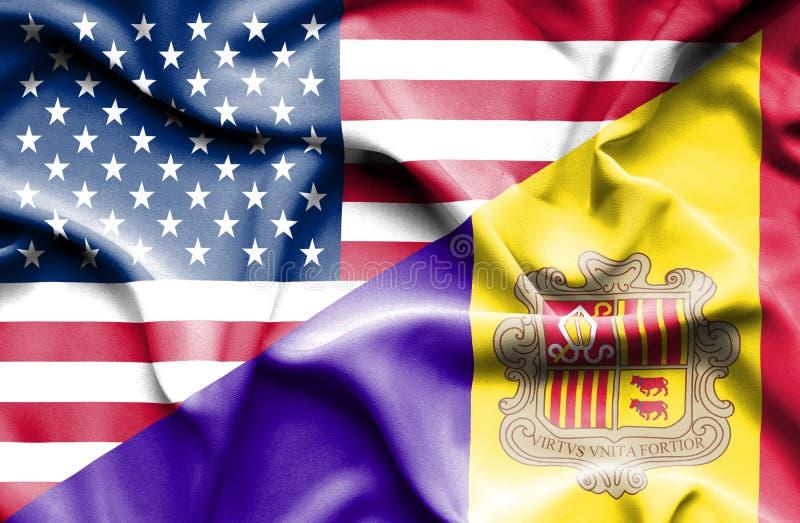 Drapeau de ondulation de l'Andorre et des Etats-Unis illustration libre de droits