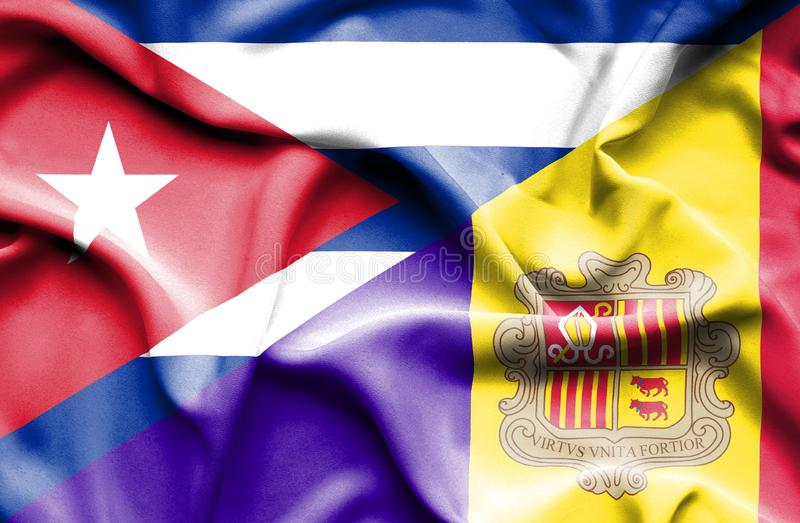 Drapeau de ondulation de l'Andorre et du Cuba illustration stock