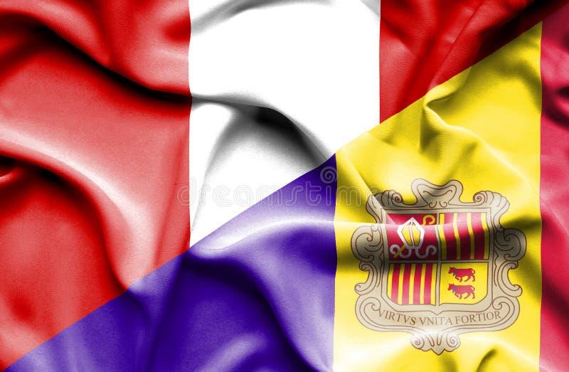 Drapeau de ondulation de l'Andorre et du Pérou illustration libre de droits