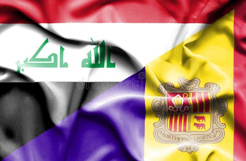 Drapeau de ondulation de l'Andorre et de l'Irak illustration stock