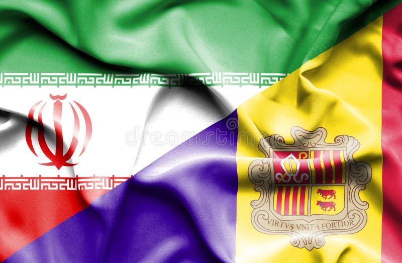 Drapeau de ondulation de l'Andorre et de l'Iran illustration stock