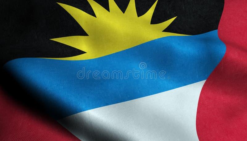 Drapeau de ondulation de l'Antigua-et-Barbuda dans 3D illustration de vecteur