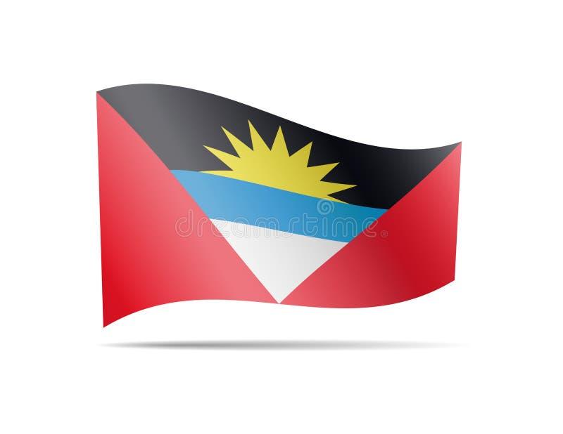 Drapeau de ondulation de l'Antigua-et-Barbuda dans le vent illustration de vecteur