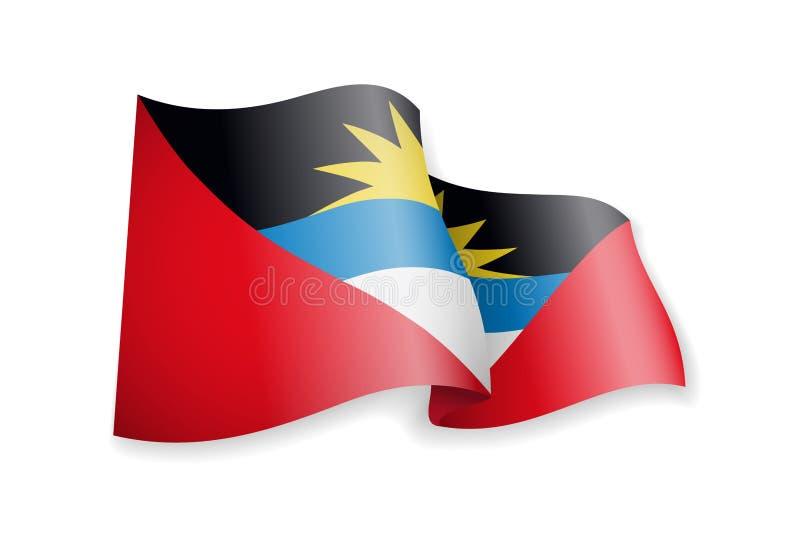 Drapeau de ondulation de l'Antigua-et-Barbuda sur le fond blanc illustration stock