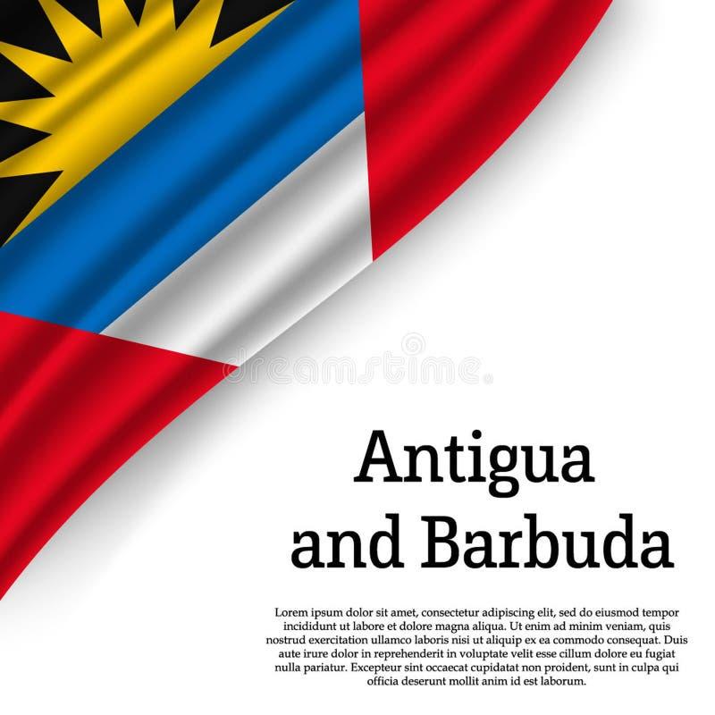 Drapeau de ondulation de l'Antigua et du Barbuda illustration de vecteur
