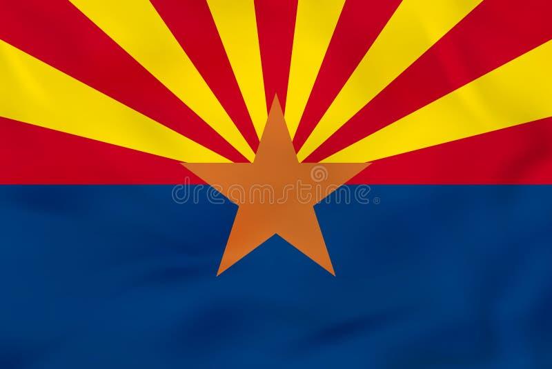 Drapeau de ondulation de l'Arizona Texture de fond de drapeau d'état de l'Arizona illustration de vecteur
