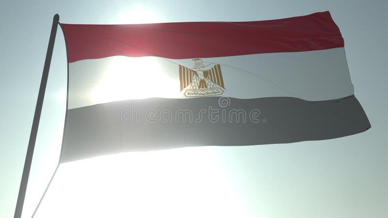 Drapeau de ondulation de l'Egypte contre le soleil et le ciel brillants Rendu 3d r?aliste illustration stock