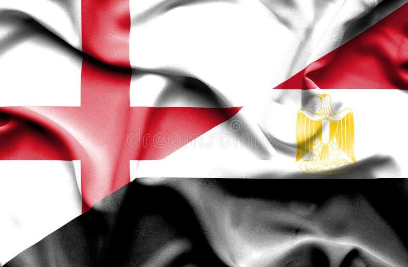 Drapeau de ondulation de l'Egypte et de l'Angleterre photo libre de droits