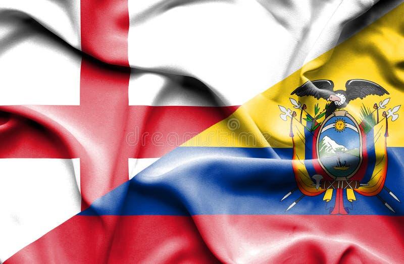 Drapeau de ondulation de l'Equateur et de l'Angleterre photos stock