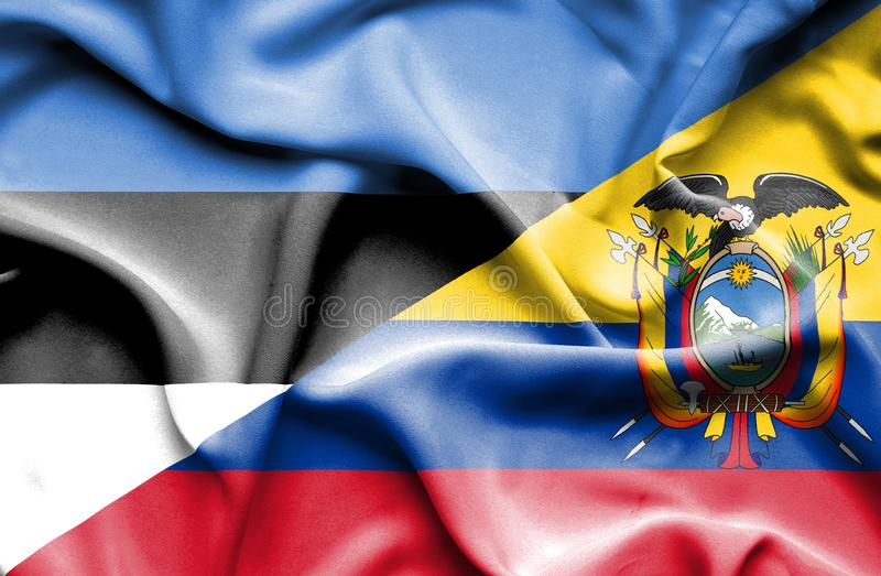 Drapeau de ondulation de l'Equateur et de l'Estonie photo stock