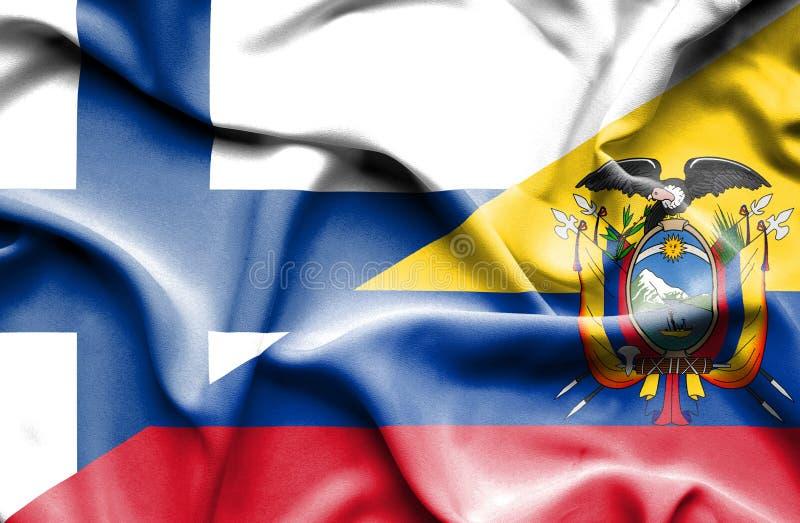 Drapeau de ondulation de l'Equateur et de la Finlande photographie stock libre de droits