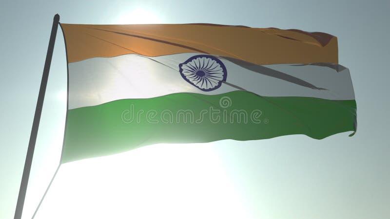 Drapeau de ondulation de l'Inde contre le soleil et le ciel brillants Rendu 3D loopable réaliste illustration stock