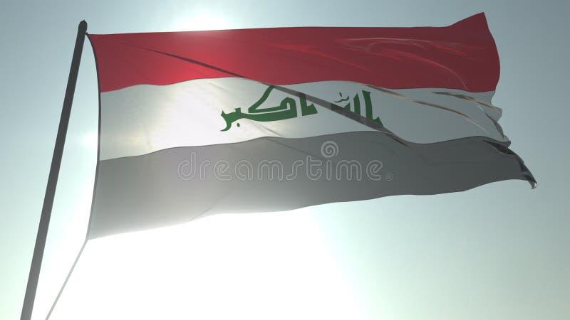 Drapeau de ondulation de l'Irak contre le soleil et le ciel brillants Rendu 3D loopable réaliste illustration libre de droits