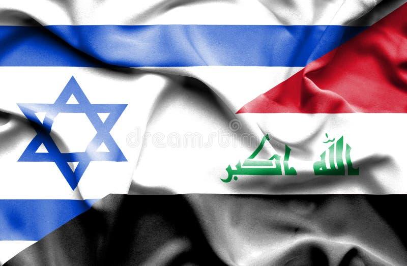 Drapeau de ondulation de l'Irak et de l'Israël illustration libre de droits