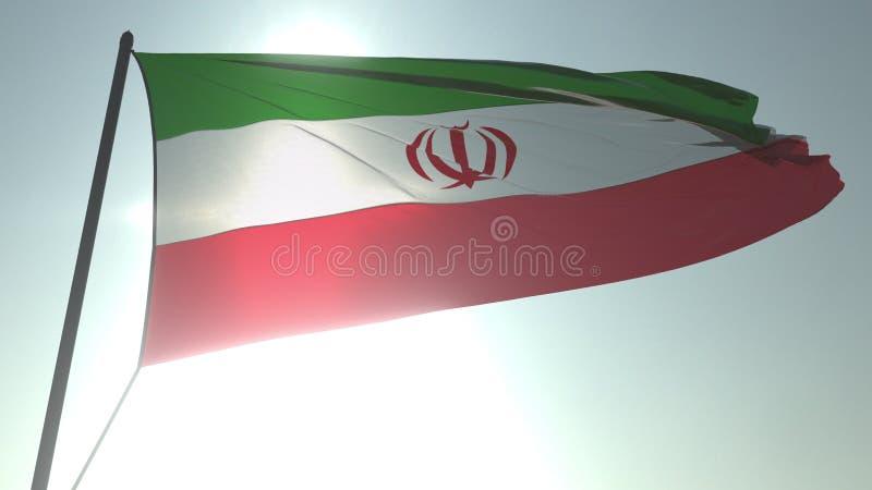 Drapeau de ondulation de l'Iran contre le soleil et le ciel brillants Rendu 3D loopable réaliste illustration de vecteur