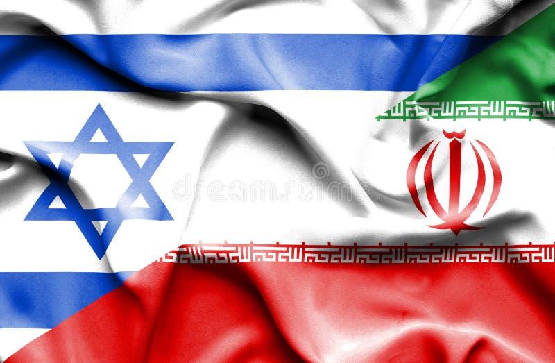 Drapeau de ondulation de l'Iran et de l'Israël illustration de vecteur
