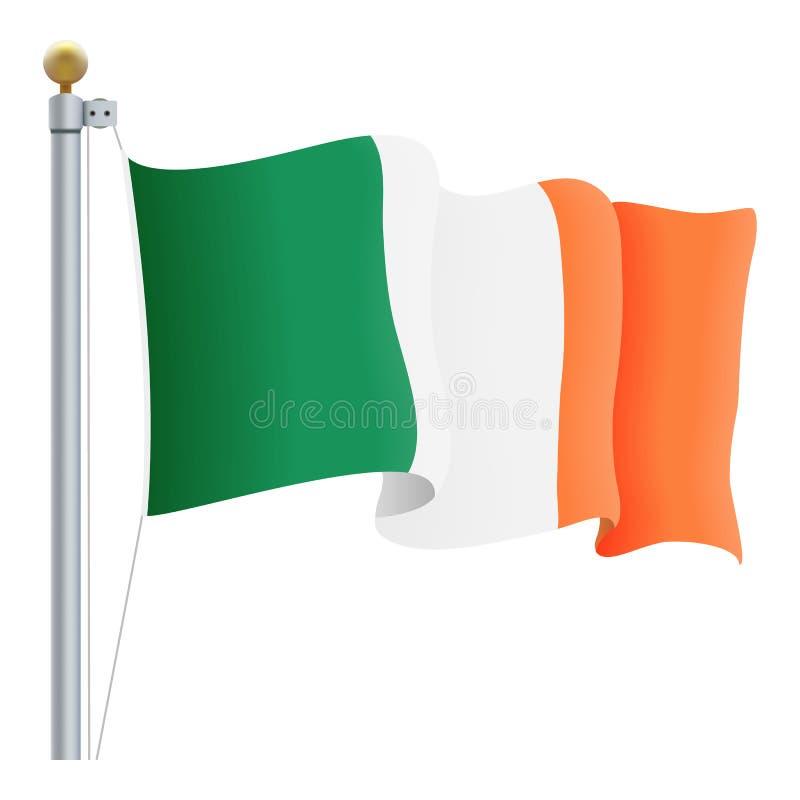 Drapeau de ondulation de l'Irlande d'isolement sur un fond blanc Illustration de vecteur illustration de vecteur