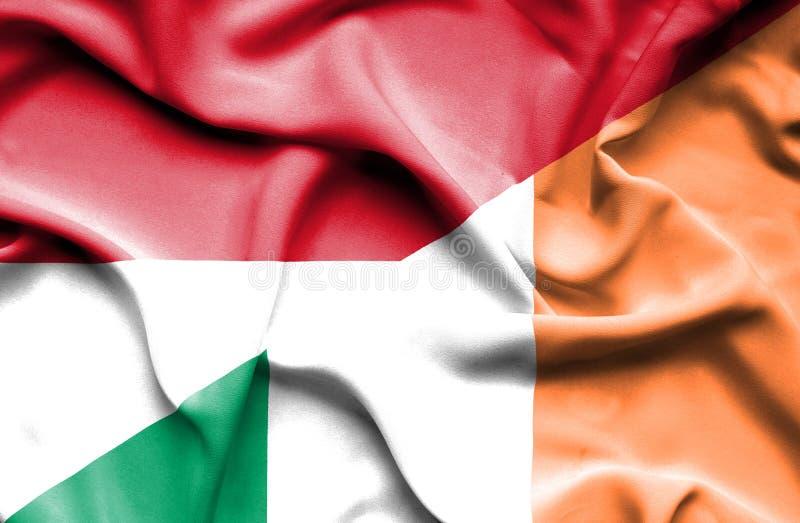 Drapeau de ondulation de l'Irlande et de l'Indonésie illustration libre de droits