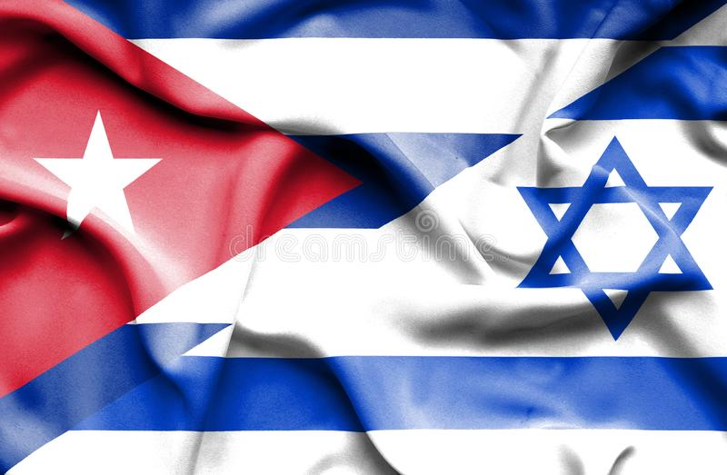 Drapeau de ondulation de l'Israël et du Cuba illustration libre de droits