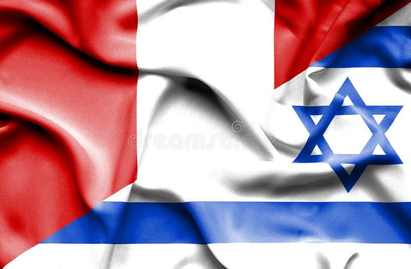 Drapeau de ondulation de l'Israël et du Pérou illustration de vecteur