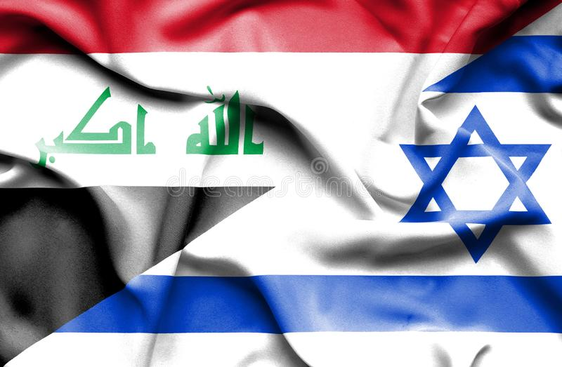 Drapeau de ondulation de l'Israël et de l'Irak illustration de vecteur