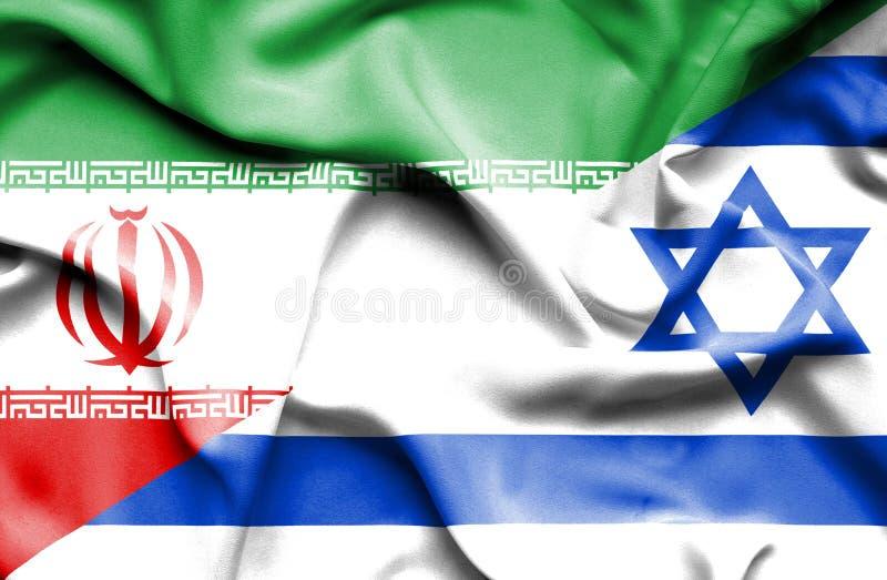 Drapeau de ondulation de l'Israël et de l'Iran illustration de vecteur