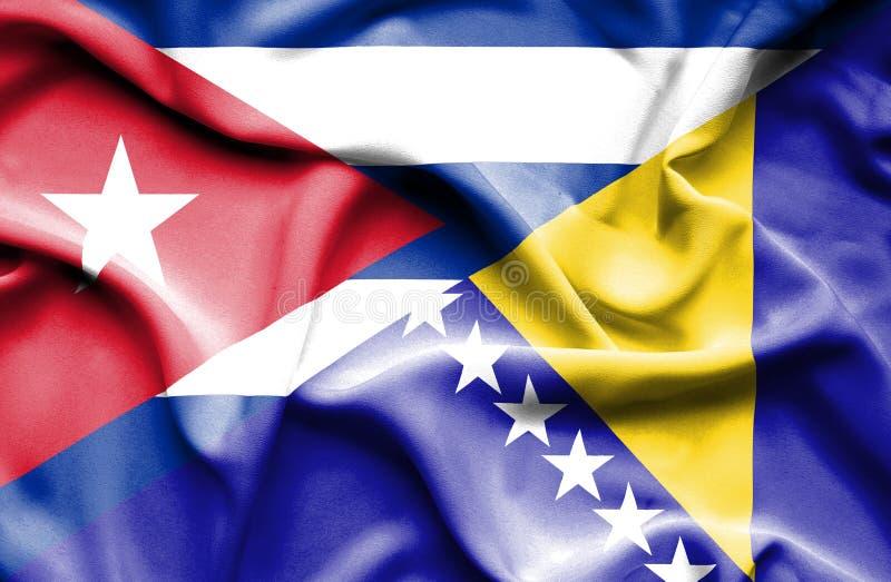 Drapeau de ondulation de la Bosnie-Herzégovine et du Cuba illustration stock