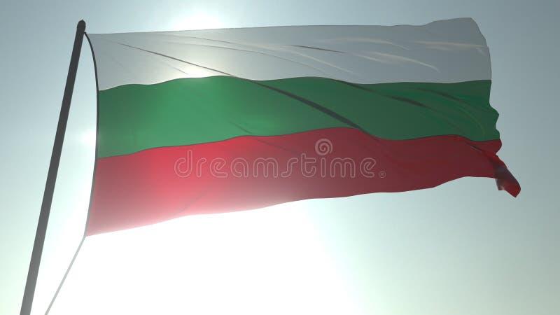 Drapeau de ondulation de la Bulgarie contre le soleil et le ciel brillants Rendu 3d r?aliste illustration stock