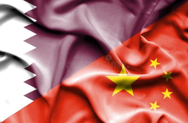 Drapeau de ondulation de la Chine et du Qatar illustration de vecteur