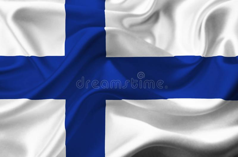 Drapeau de ondulation de la Finlande illustration de vecteur