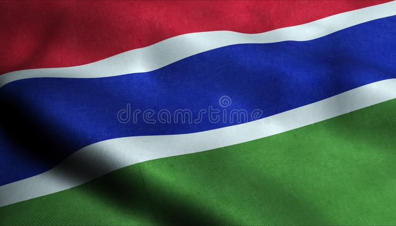 Drapeau de ondulation de la Gambie dans 3D illustration libre de droits