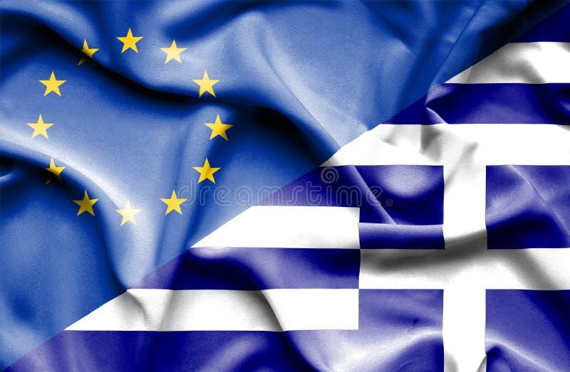 Drapeau de ondulation de la Grèce et de l'UE photographie stock