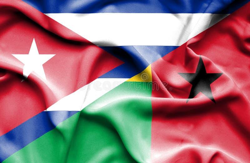 Drapeau de ondulation de la Guinée-Bissau et du Cuba illustration libre de droits