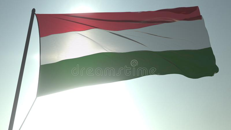 Drapeau de ondulation de la Hongrie contre le soleil et le ciel brillants Rendu 3D loopable réaliste illustration stock