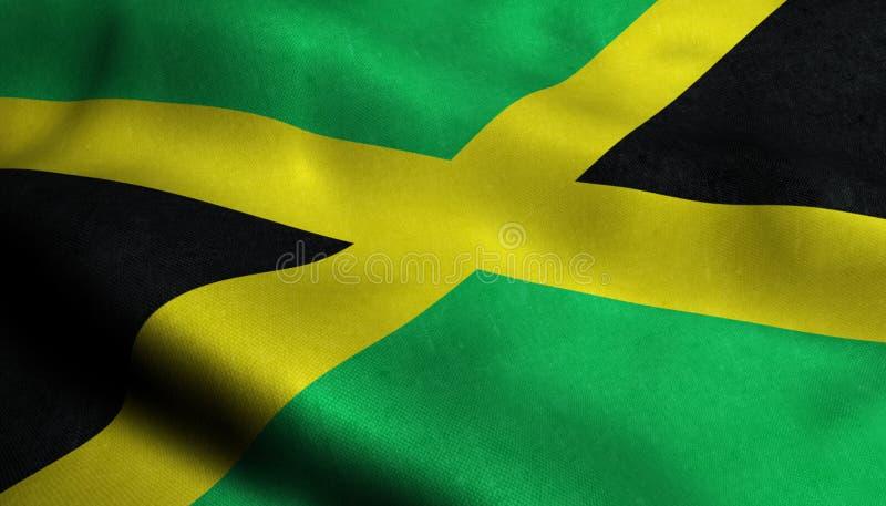 Drapeau de ondulation de la Jamaïque dans 3D illustration libre de droits