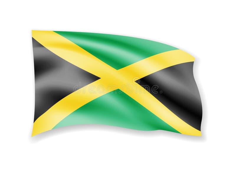 Drapeau de ondulation de la Jamaïque sur le blanc Drapeau dans le vent illustration de vecteur