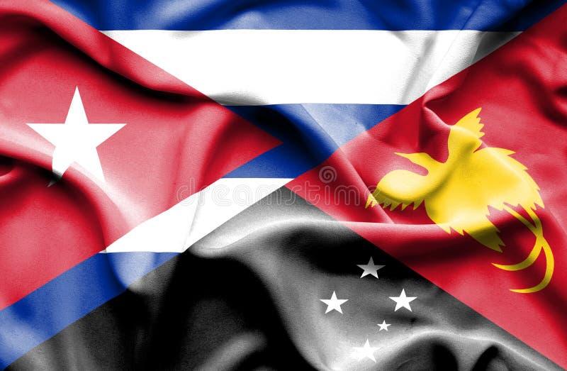 Drapeau de ondulation de la Papouasie-Nouvelle-Guinée et du Cuba illustration stock