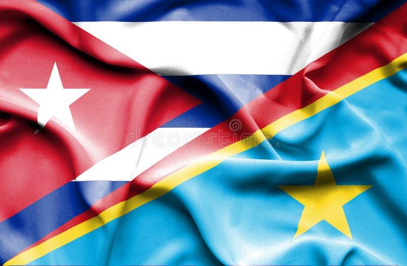 Drapeau de ondulation de la République Democratic et du Cuba du Congo illustration de vecteur