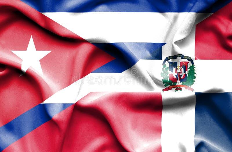 Drapeau de ondulation de la République Dominicaine et du Cuba illustration stock