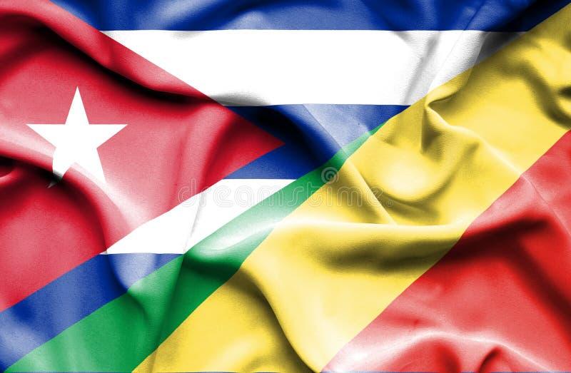 Drapeau de ondulation de la République et du Cuba du Congo illustration libre de droits