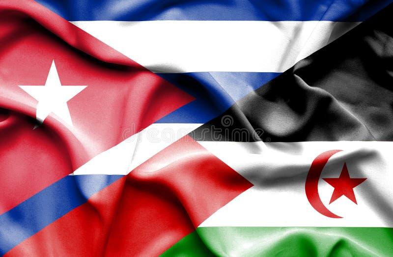 Drapeau de ondulation de la Sahara occidental et du Cuba illustration de vecteur