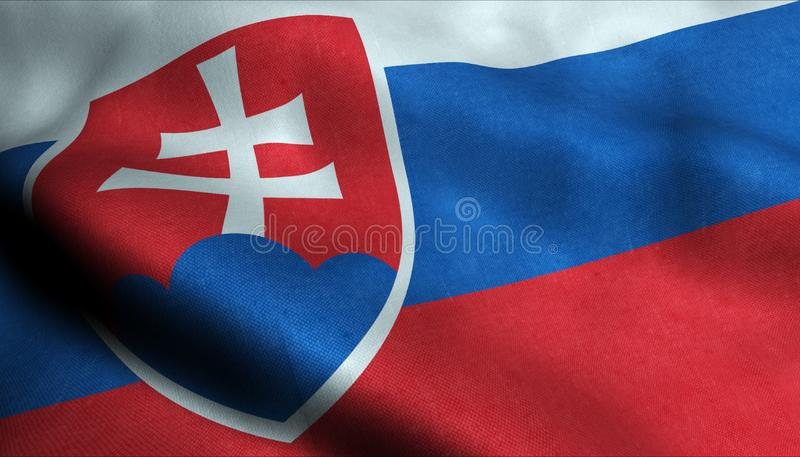 Drapeau de ondulation de la Slovaquie dans 3D illustration de vecteur