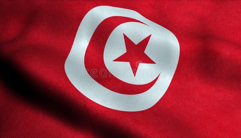 Drapeau de ondulation de la Tunisie dans 3D photos libres de droits