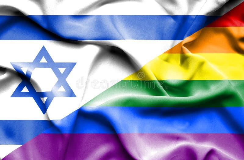 Drapeau de ondulation de LGBT et de l'Israël illustration de vecteur