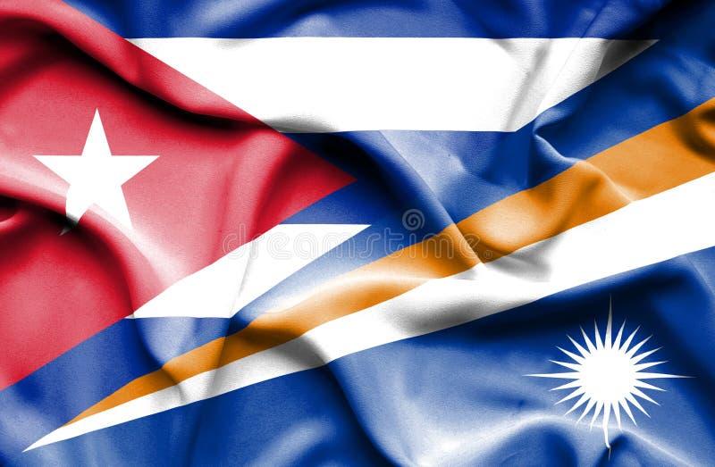 Drapeau de ondulation de Marshall Islands et du Cuba illustration stock