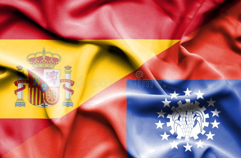 Drapeau de ondulation de Myanmar et de l'Espagne illustration libre de droits