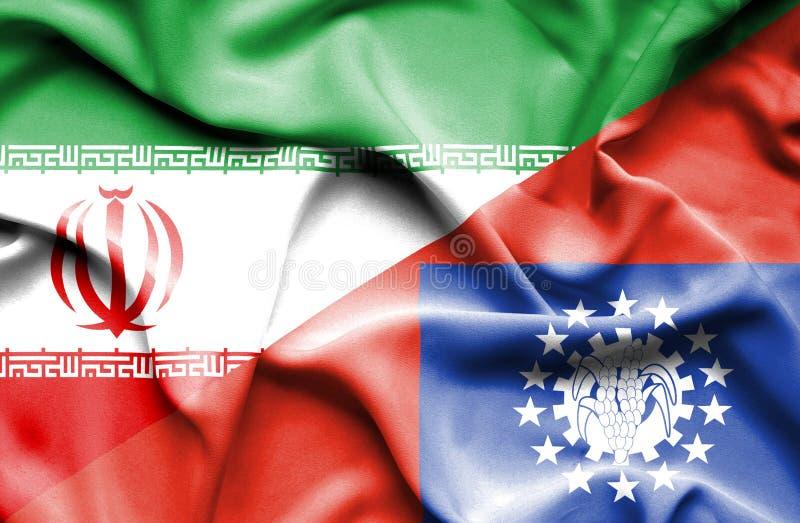 Drapeau de ondulation de Myanmar et de l'Iran illustration stock