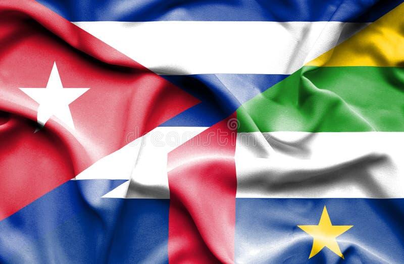 Drapeau de ondulation de République Centrafricaine et du Cuba illustration libre de droits
