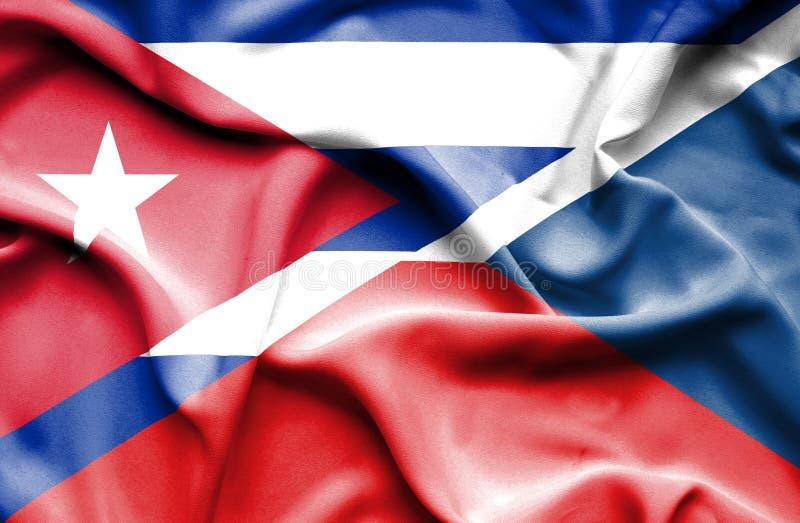 Drapeau de ondulation de République Tchèque et du Cuba illustration stock