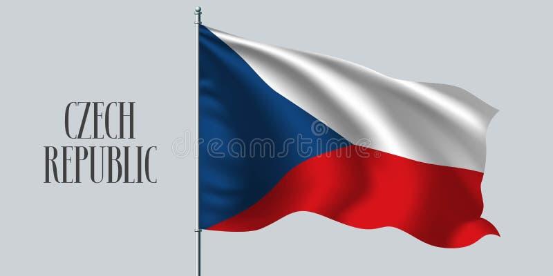 Drapeau de ondulation de République Tchèque sur l'illustration de vecteur de mât de drapeau illustration libre de droits